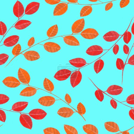 Seamless pattern with the watercolor branches with red leaves, hand painted on a turquoise background