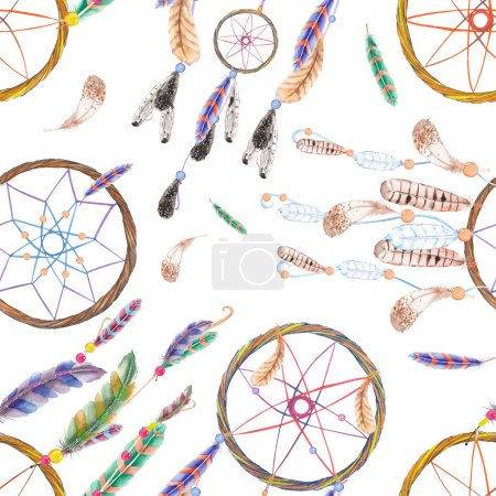 Seamless pattern with watercolor dreamcatchers and feathers in the air, hand drawn on a white background