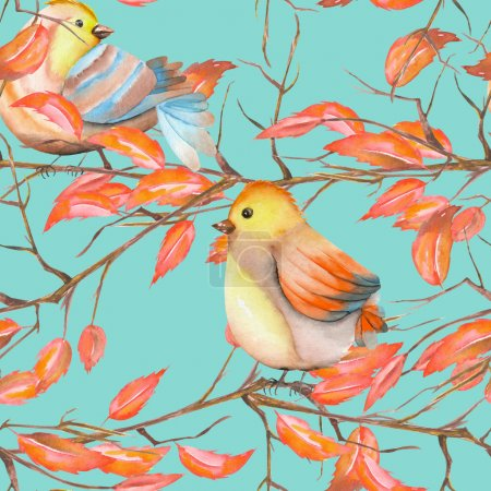 Photo for Seamless pattern of the watercolor birds on the tree branches with red leaves, hand drawn on a blue background - Royalty Free Image