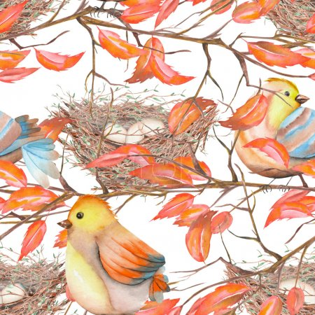 Seamless pattern of the watercolor birds and nests on the branches with red leaves, hand drawn on a white background