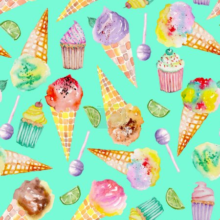 Ice cream and confection pattern on a turquoise background