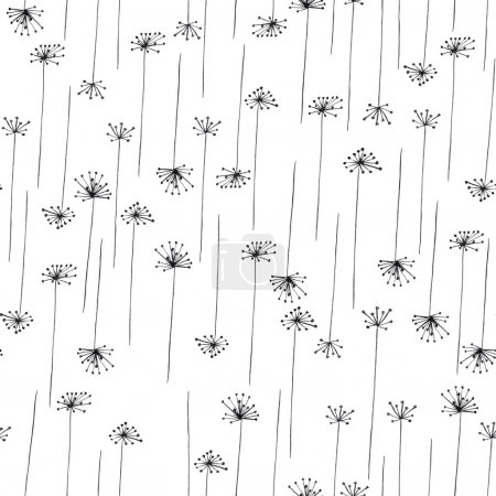 Seamless pattern with black silhouette of fennel on a white background