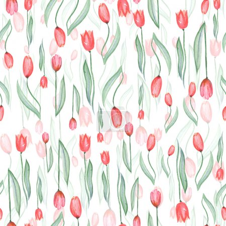 Seamless pattern of red tulips