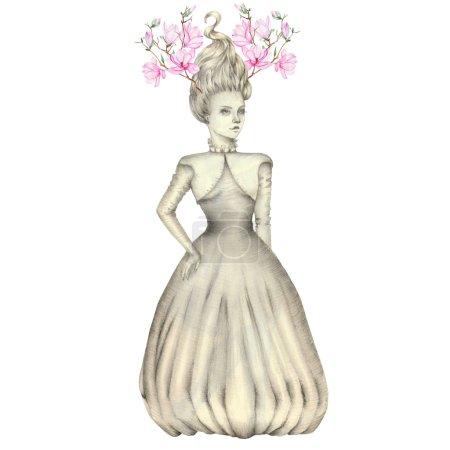 Porträt eines Mädchens mit einem rosafarbenen Magnoliengeweih auf dem Kopf