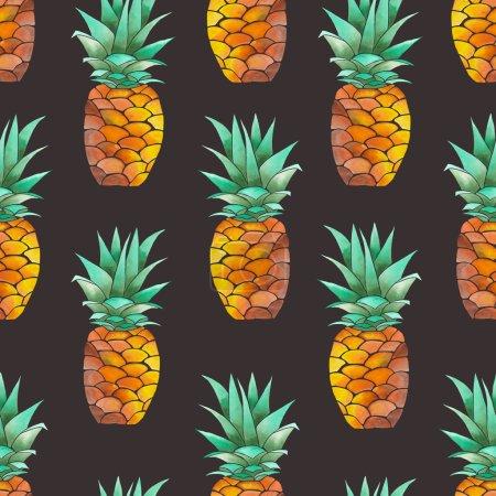 Photo pour Motif sans couture avec ananas aquarelle jaune sur fond brun foncé - image libre de droit