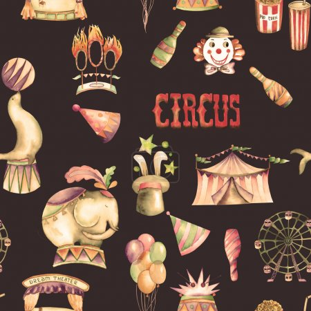 A seamless pattern with the watercolor retro circus elements: air balloons, pop corn, circus tent (marquee), ice cream, circus animals, clowns, Ferris wheel and other. Painted on a dark background