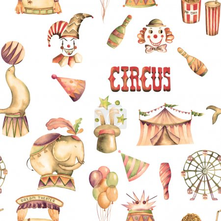 A seamless pattern with the watercolor retro circus elements: air balloons, pop corn, circus tent (marquee), ice cream, circus animals, clowns, Ferris wheel and other. Painted on a white background