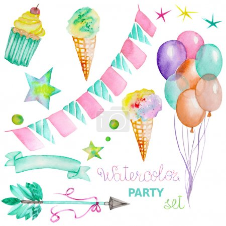 Watercolor party set in the form of garland of the flags, ice cream, air balloons, arrow, ribbon and stars
