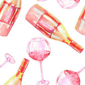 A seamless pattern with the watercolor glasses of red wine and wine (champagne) bottles. Painted hand-drawn in a watercolor on a white background.