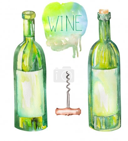 An illustration of the watercolor wine bottles and a corkscrew. Painted hand-drawn in a watercolor on a white background.