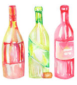 An illustration of the watercolor wine bottles. Painted hand-drawn in a watercolor on a white background.