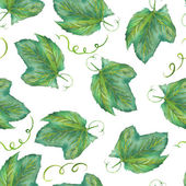 A seamless pattern with the watercolor grape leaves. Painted hand-drawn in a watercolor on a white background.