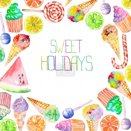 A sweet circle frame of the watercolor confection: ice cream, candy, lollipop, muffins, fruits and other