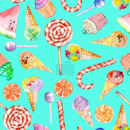 A seamless sweet pattern with the watercolor lollipop, candy cane, ice cream, muffins and other. Painted hand-drawn on a turquoise background