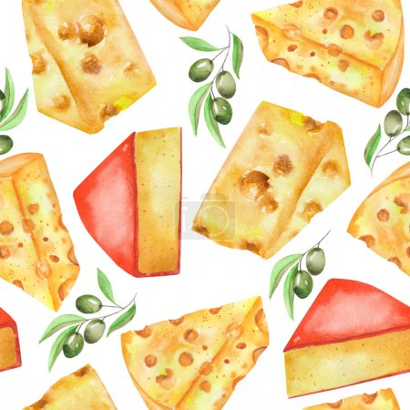 Photo for A seamless pattern with the hand-drawn hard Dutch cheeses and olives. Painted in a watercolor on a white background. - Royalty Free Image