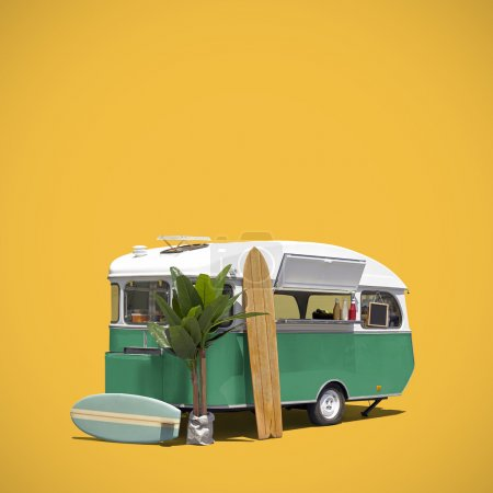 Food truck caravan isolated