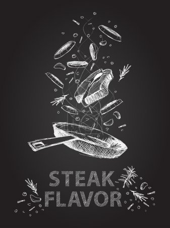 Steak flavor quotes illustration on chalkboard