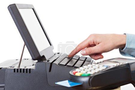 Photo pour Écran tactile ACL de montage en rack et pos-terminal. point de vente, isolé sur fond blanc. - image libre de droit