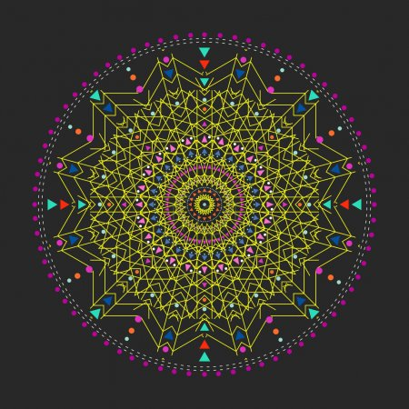 Trendy hipster colored circle, bright philosophical symbol, circular elements that are a religious,
