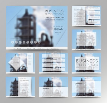 Illustration for Abstract defocused vector backgrounds of factory building. Set of vector templates for presentation slides and business presentation. - Royalty Free Image
