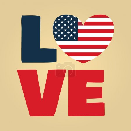 Illustration pour Love Usa, America, Happy Independence Day, 4 juillet, 4 juillet, American Flag Vector - image libre de droit