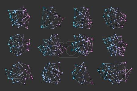 Illustration pour Triangles polygonaux, logo cosmique hipster, icône de l'espace - image libre de droit