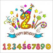 Happy birthday Two years Set of colored numbers