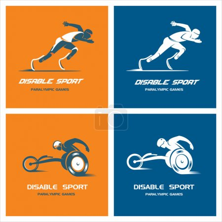 Set of logos, signs. Athletes with a disability. Paralympic games