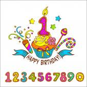 Set of colored numbers Happy birthday One year