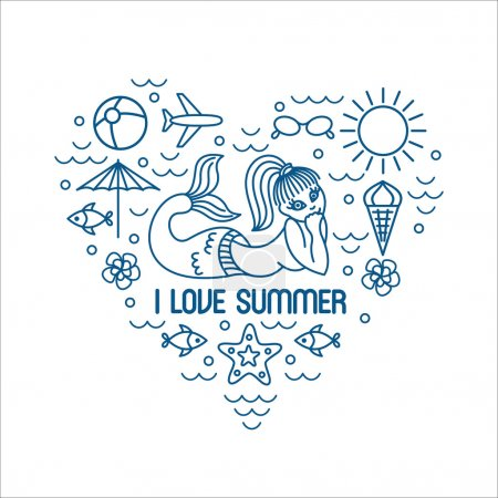 I love summer, vector summer and vacation poster or print for t-shirt in trend linear style heart shaped - illustration with icons and sign monochrome