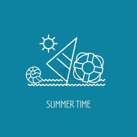Summer. Sea, boat, shell. The emblem of summer hol...
