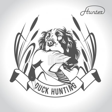 Hunting logo hunting dog with a wild duck in his teeth and desig
