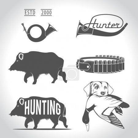 Hunting, design elements. Boar, wild duck, bandolier, hunting do
