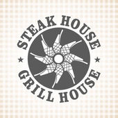 Restaurant grill and barbecue menu steak house vector logo