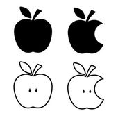 Apple apple core bitten half vector icons