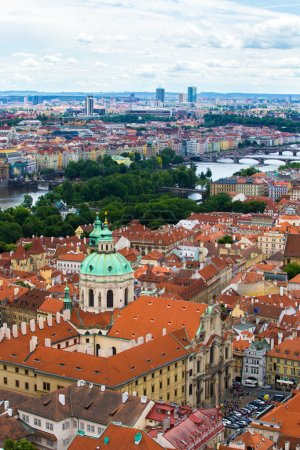 View from above over Prague St Nicholas Church