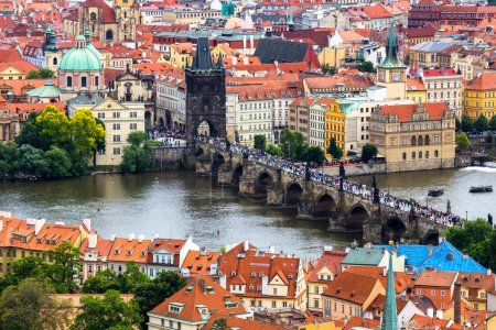 View from above over Charles Bridge, Prague