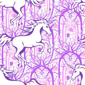 Galloping unicorn silhouette against the backdrop of a magical enchanted forest - seamless vector background