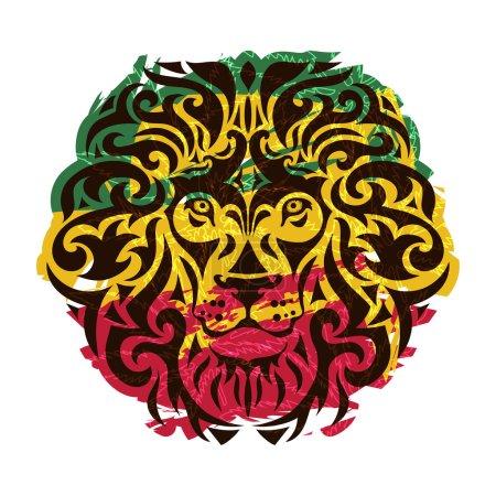 Rasta theme with lion head on a white background. ...