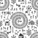 Warli peynting seamless pattern - hand drawn tradi...