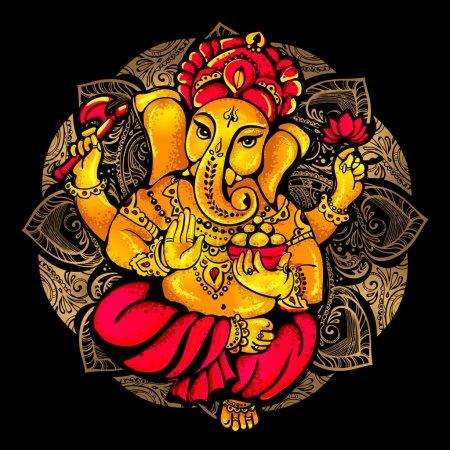 Illustration pour Image vectorielle isolée du seigneur hindou Ganesh. Ganesh Puja. Ganesh Chaturthi. Il est utilisé pour les cartes postales, les imprimés, les textiles, le tatouage. - image libre de droit