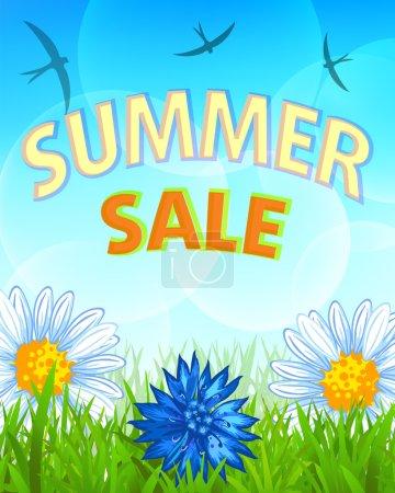 Illustration pour Bannière de soldes d'été, avec filet de dégradé, Illustration vectorielle - image libre de droit