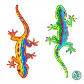 Beautiful stylized colored lizards isolated on white background Gecko Vector illustration