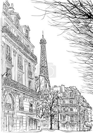 sketch of Parisian street