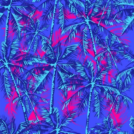 Illustration for Seamless vector tropical pattern depicting palm trees on the bright pink background - Royalty Free Image