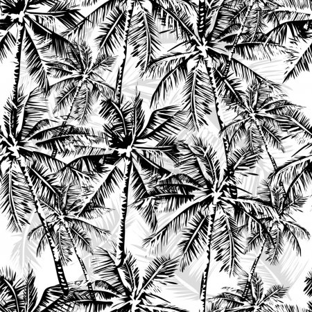 Illustration for Seamless vector monochrome tropical pattern depicting black palm tree on a white background - Royalty Free Image