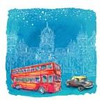 Chhatrapati Shivaji Terminus and red bus at night ...