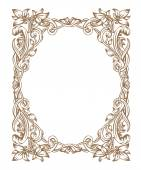 Vintage Art Nouveau frame composed of vignettes leaves and flowers of golden color on a white background