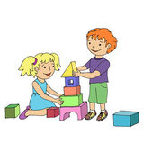 Little girl and boy playing with toy blocks