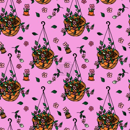 Pot plants seamless pattern, hand-drawn design elements